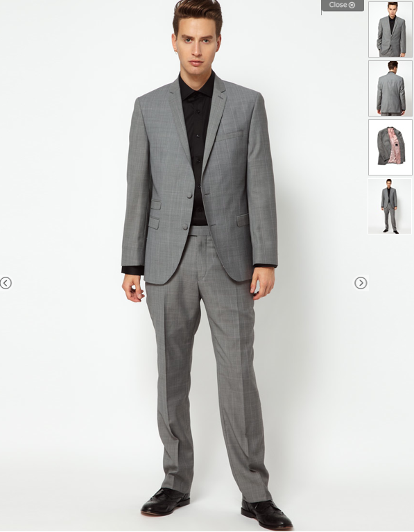 Slim-fit grey suit