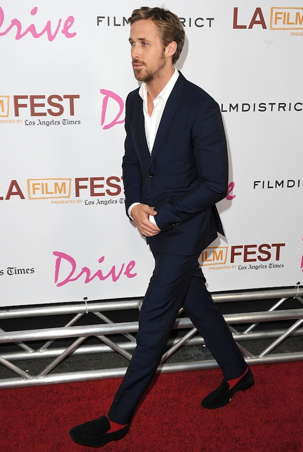 "Ryan Gosling at Premiere of ""Drive"" in a slim suit"