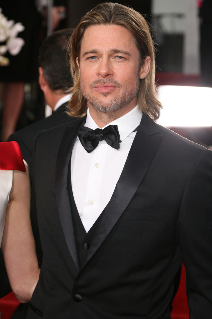 Brad Pitt black suit white shirt long hair golden globes