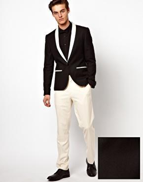 Black suit white pants