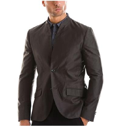 dark linen suit without tie